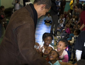 President-elect Obama visits a school in Chicago.