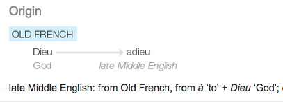 adieu: old french TO GOD