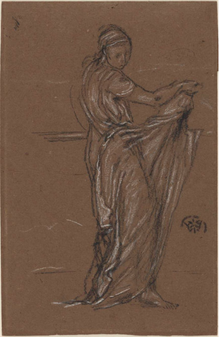 Drawing of a woman draped in a sheer fabric. Chalk on brown paper by James Whistler.
