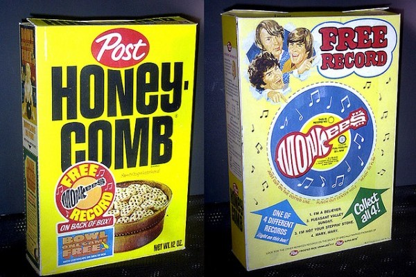 A Monkees record on a Honey Combs cereal Box. I think I had this one.
