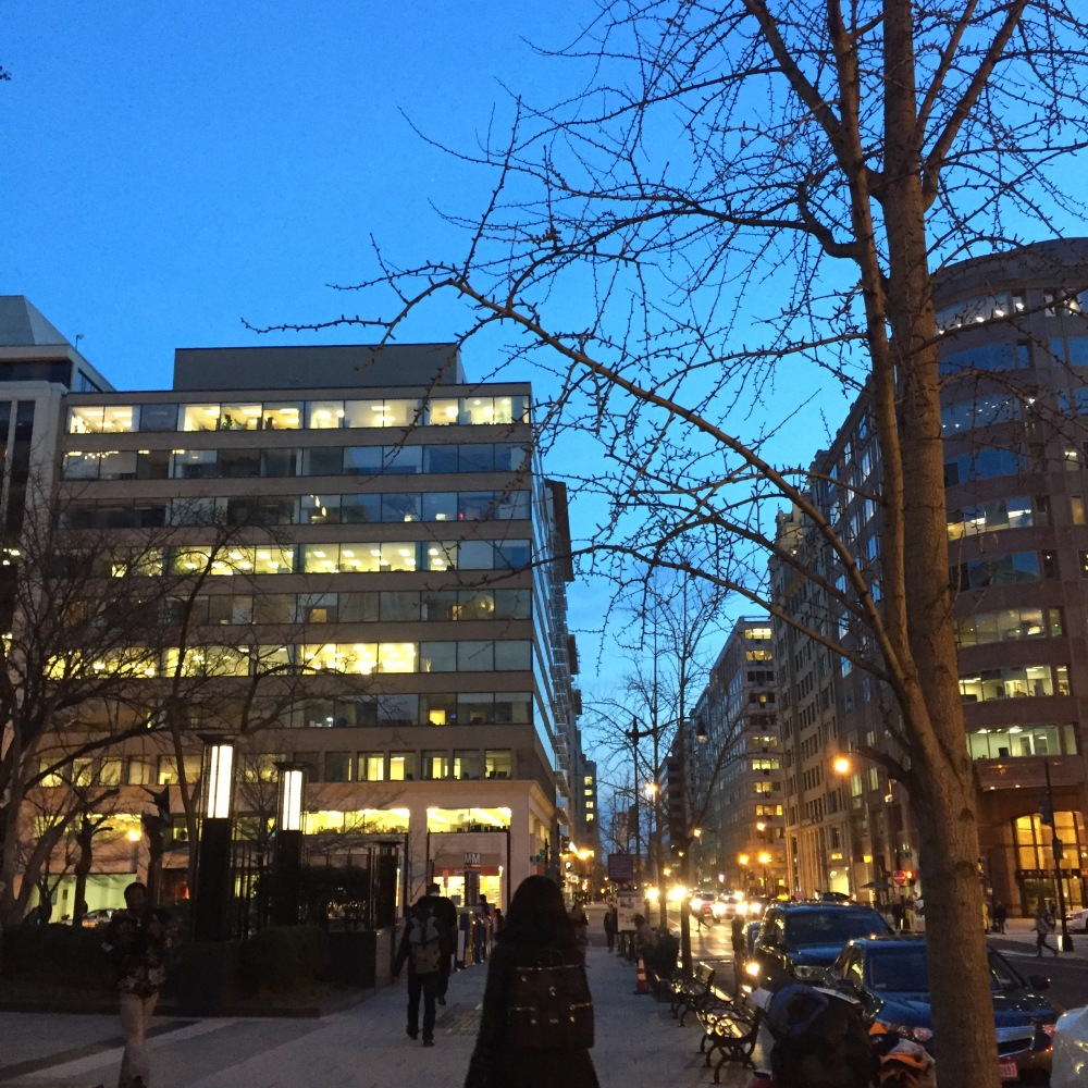How beautiful is that blue on an early spring evening walking down 12th St to the Metro Center Station?