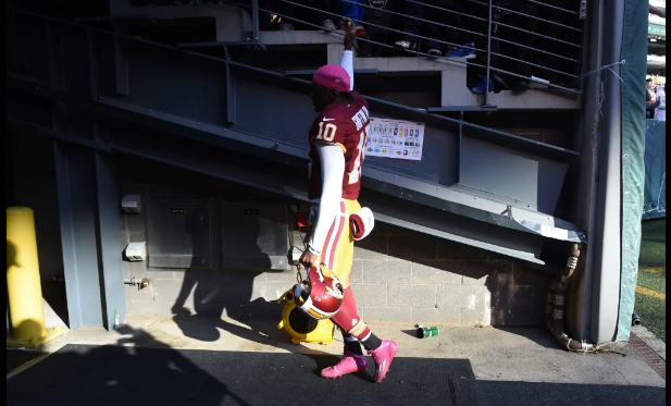 RG3 suited up and alone.