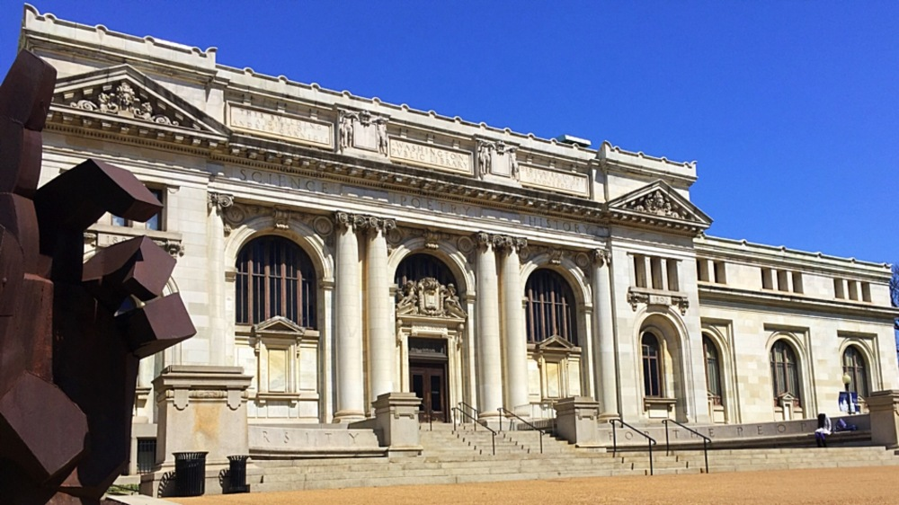 Carnegie Library at Mt. Vernon Square. Look on the far right. That's the point.