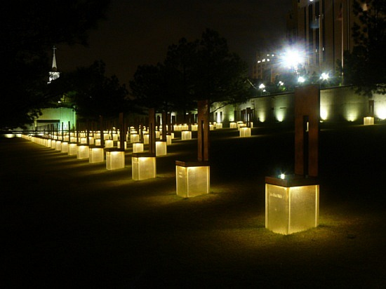 Oklahoma City National Memorial at night. All lit up. Remembering those who were lost.