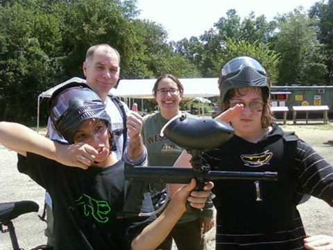 We all did paintball that day. Including Larry and Elizabeth.