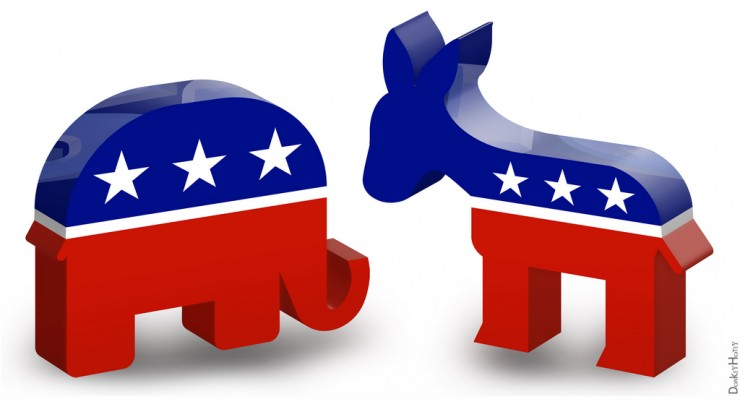 Here's a patriotic elephant, looking all U.S.A. And his friend, the patriotic donkey, also 'merica'd out.