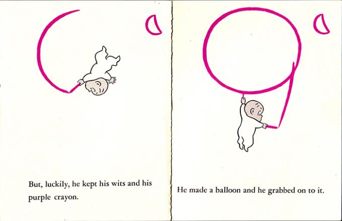 Harold takes his purple crayon and draws himself a balloon so he doesn't tumble to his death.