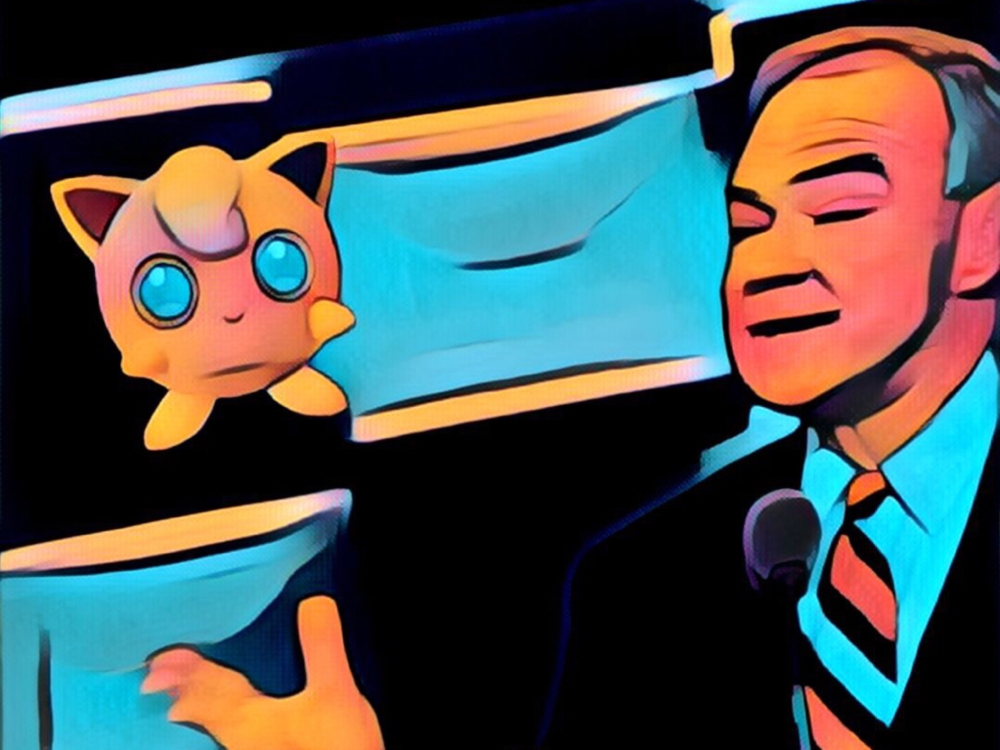 Jigglypuff helping VP candidate Tim Kaine deliver his speech.
