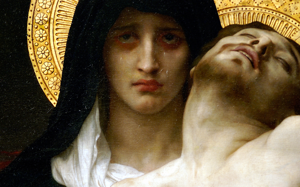 Detail from William-Adolphe Bouguereau, Pietà, 1876, Dallas Museum of Fine Arts. Mary is so sad. She lost her son.