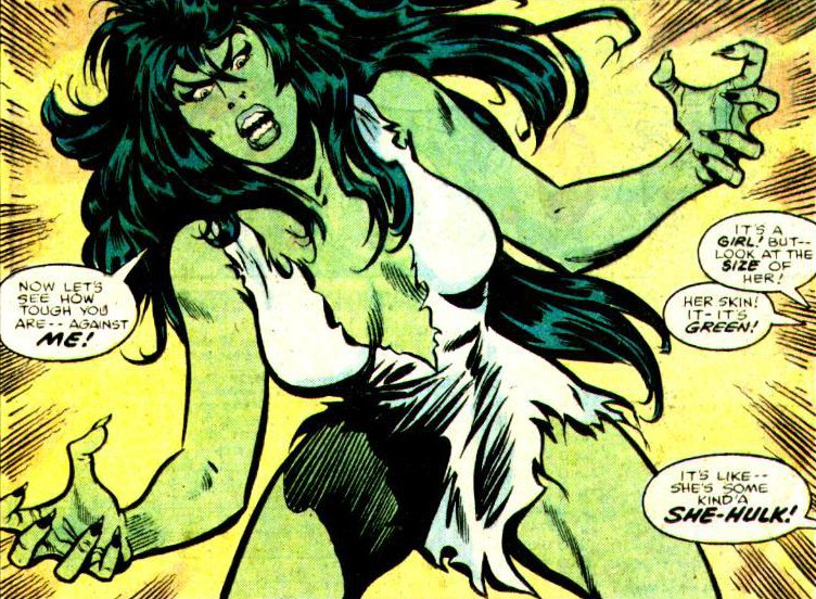 She-Hulk all freaking out because she did her transforming. Outside of the cartoon are some guys freaking out worse.