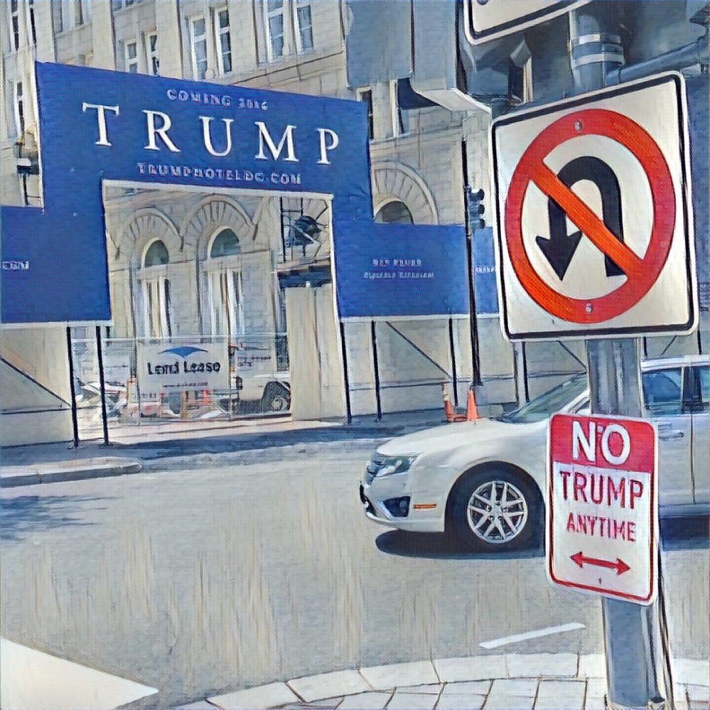 "A stylized corner-scape of the construction entrance for the new DC Trump Hotel at 12th and Penn NW with a riff on a no-parking sign that reads ""No Trump Anytime."""