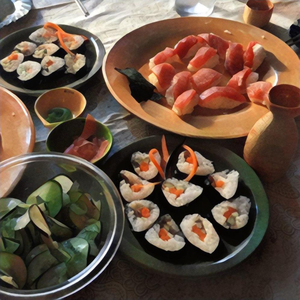 A super yummy sushi dinner.