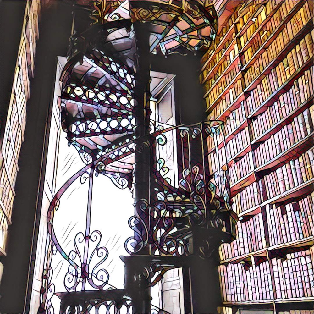 Trinity College Library in Dublin. A spiral staircase to the books.