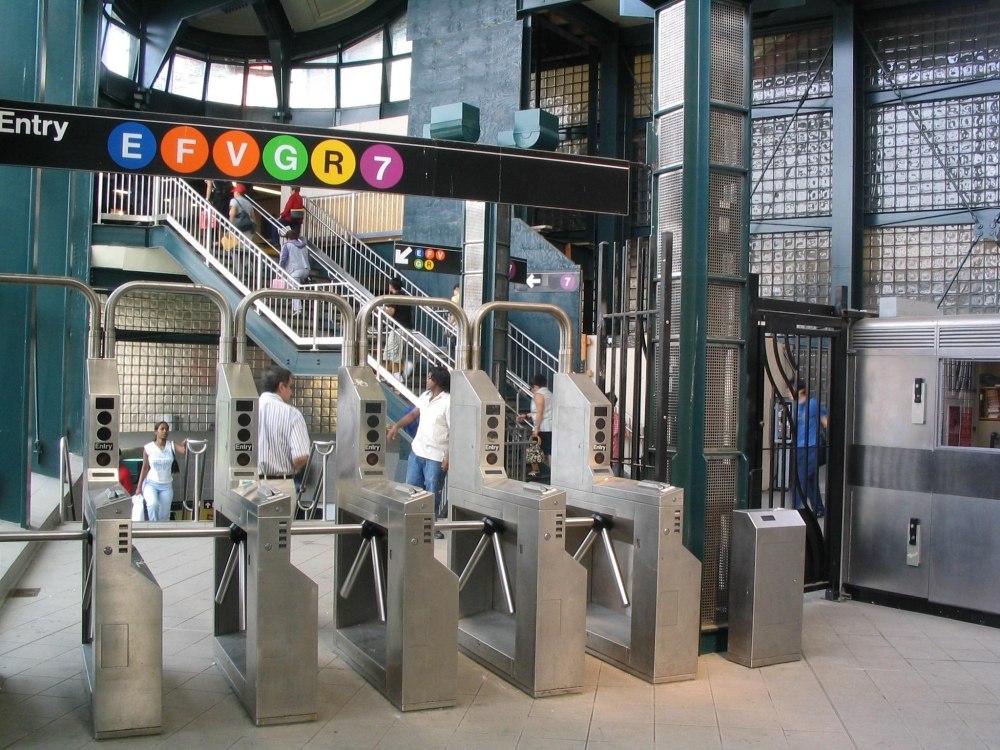 Turnstiles at New York subway stop at 74th station and Roosevelt.