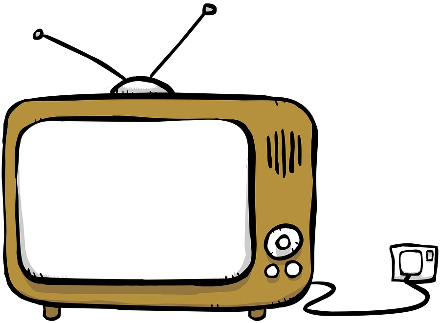 Cartoony drawing of a TV with an antenna and a clicker. So old skool.