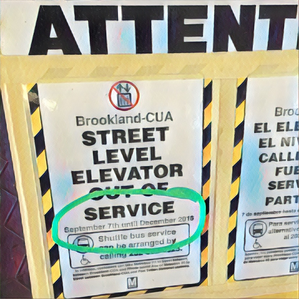 Sign at the metro station telling people who need an elevator to call some body to get them a shuttle bus. But not from this station. MAD!
