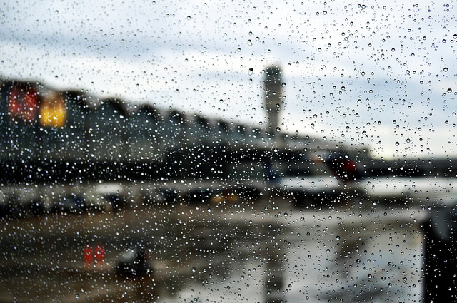 A rain spattered windshield at DCA. You can see the tower.