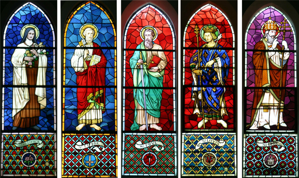 Saints in stained glass.