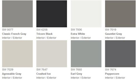 Paint swatches. Gray, black, extra white.