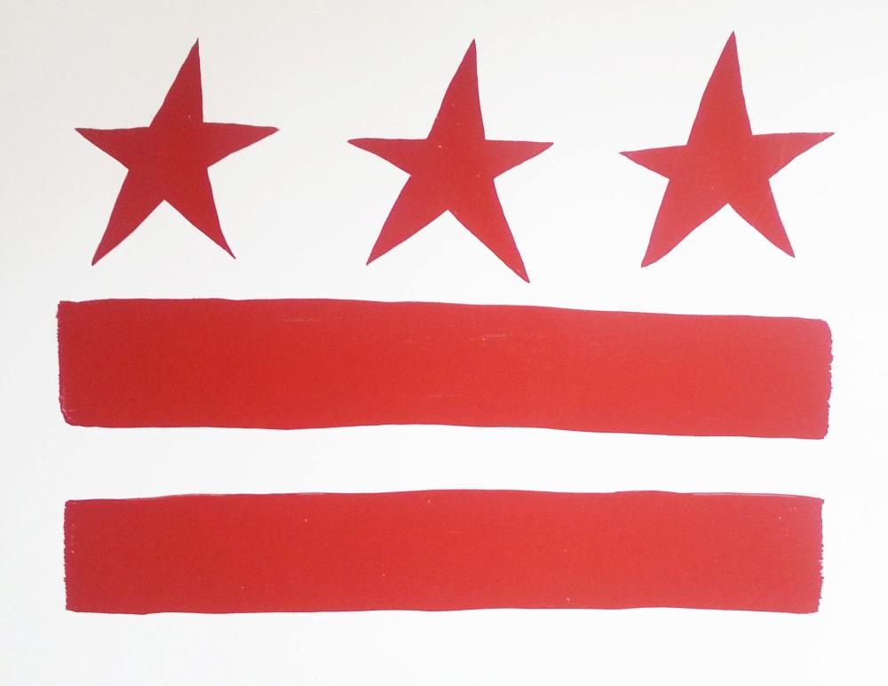 A stylized DC flag with three red stars on the top and 2 red stripes on the bottom. It's u.