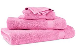 Pink bath towel set.