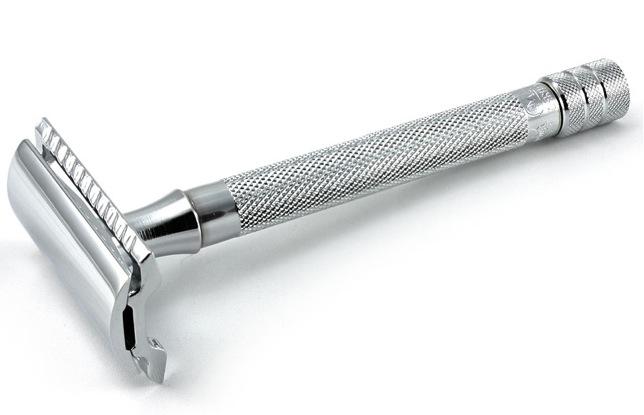 Shiny silver razor.