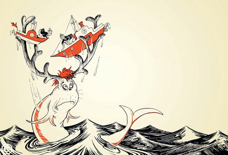 Dr. Seuss's dilemma fish. I don't think it's from a book, but it expresses the roiling seas I'm feeling.
