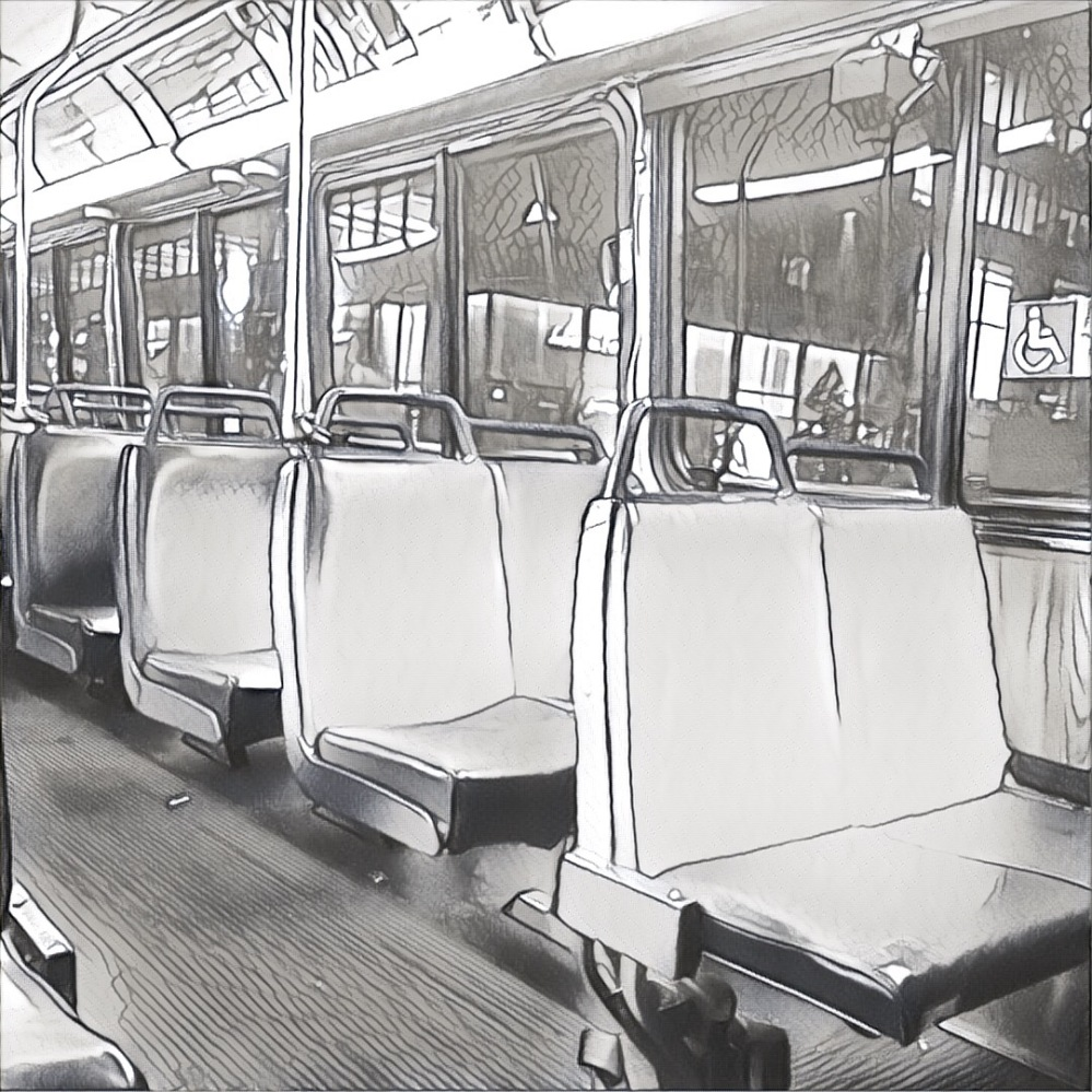 An empty bus, from the inside, sketched in black and white.