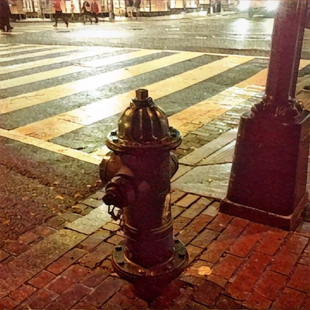 A fire hydrant at night.