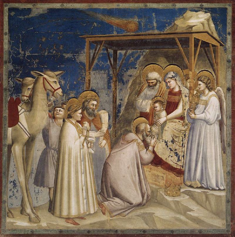 Giotto. The Adoration of the Magi. 1304-1306. Fresco. Capella degli Scrovegni, Padua, Italy. Wow. This is beautiful.