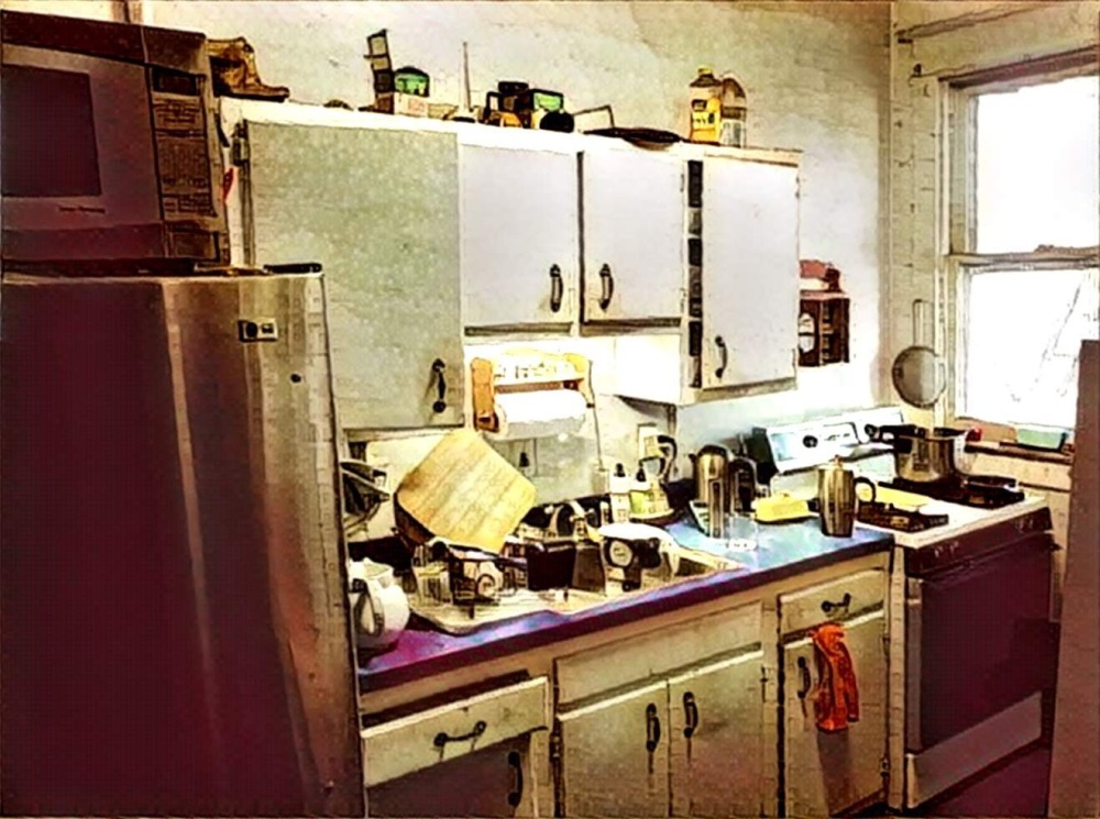 The east wall run the current kitchen. Yeah. For reals. It's a stylized filter so you don't think it's so bad.