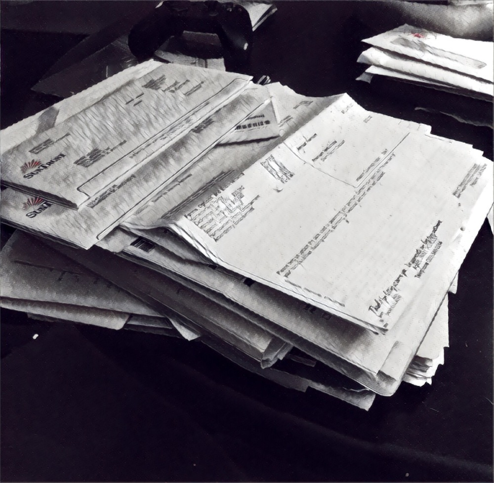 A pile of papers. So old school.