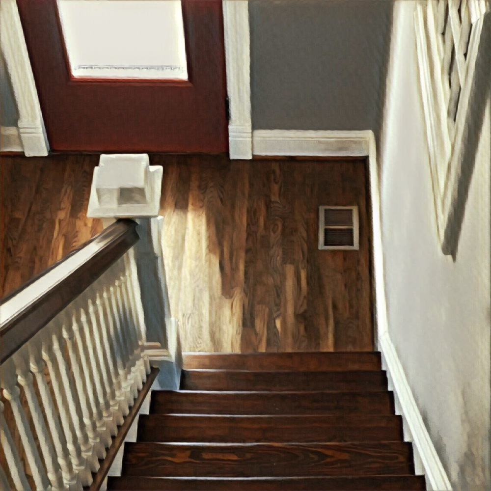 Note the contrasting flooring. The stairs are original and the landing is new. This was from my recon trip yesterday.