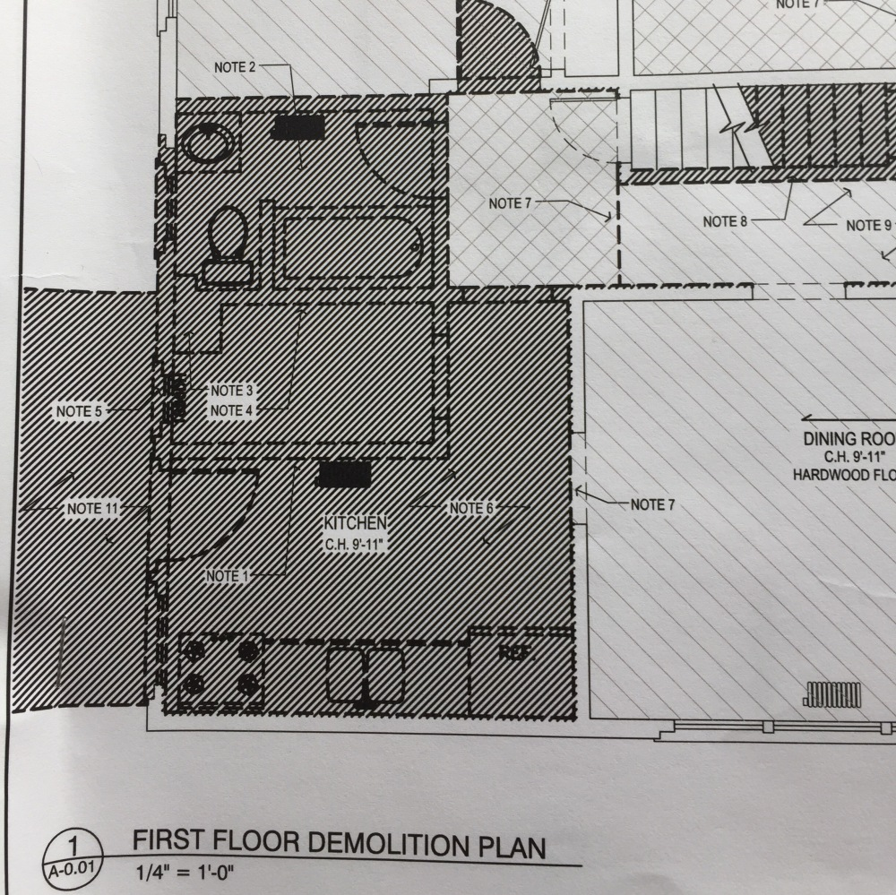 The demolition plan for the kitchen area.