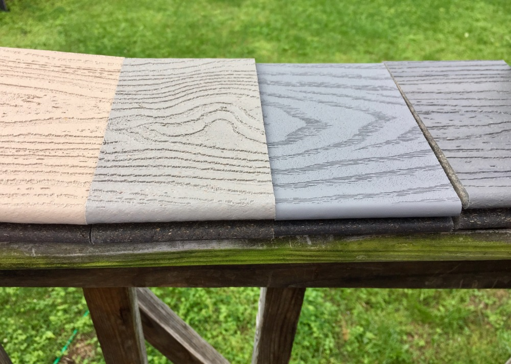 Samples of Trek deck. Four shades, mostly blue gray.
