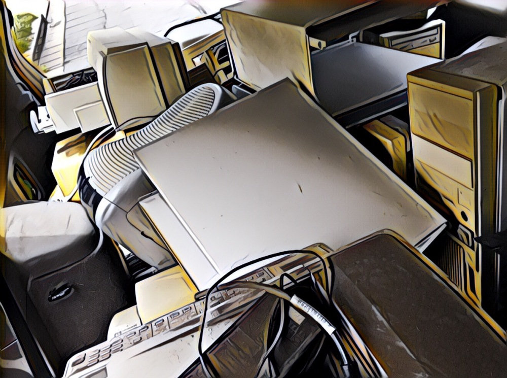 A car load of computer equipment to go to the dump.