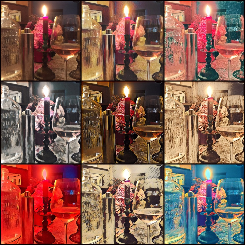 A collage of the same flowers candle and wine glass with a variety of filters.