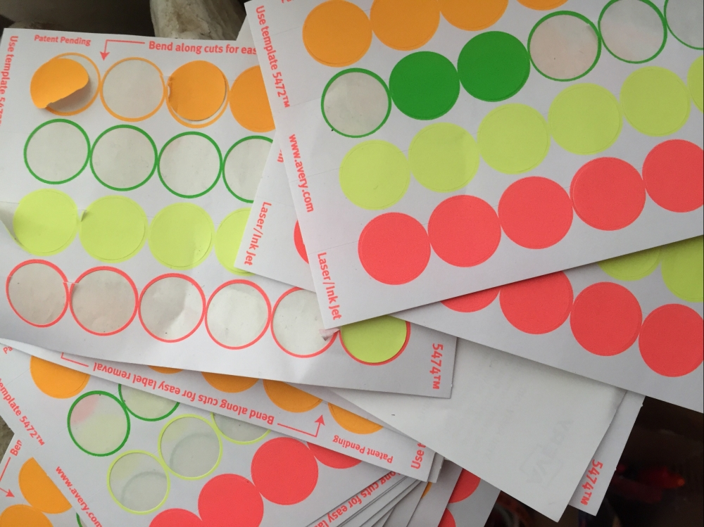 green yellow and orange dot stickers