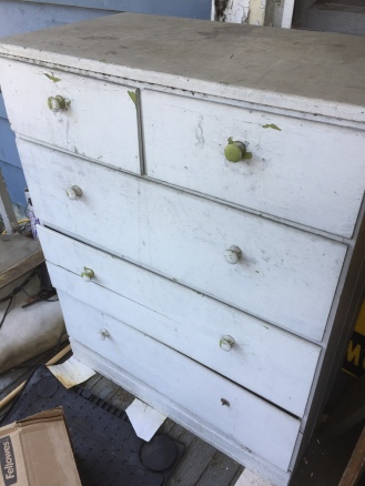 scraggly white dresser